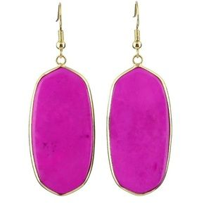 Gold Plated Hot Pink Stone Earrings